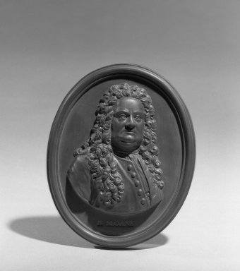 Wedgwood & Bentley (1768-1780). <em>Portrait Medallion</em>, 1778. Basaltes, 4 x 3 1/4 in. (10.2 x 8.3 cm). Brooklyn Museum, Gift of Emily Winthrop Miles, 55.9.6. Creative Commons-BY (Photo: Brooklyn Museum, 55.9.6_acetate_bw.jpg)
