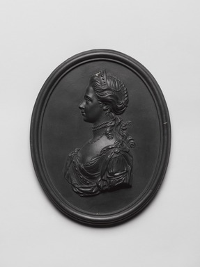 Wedgwood & Bentley (1768-1780). <em>Portrait Medallion</em>, ca.1780. Basaltes, 3 1/4 × 1/2 × 4 1/8 in. (8.3 × 1.3 × 10.5 cm). Brooklyn Museum, Gift of Emily Winthrop Miles, 55.9.7a. Creative Commons-BY (Photo: , 55.9.7a_PS9.jpg)