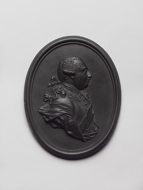 Wedgwood & Bentley (1768-1780). <em>Medallion,  George III</em>, ca.1780. Basaltes, 3 1/4 × 1/2 × 4 1/8 in. (8.3 × 1.3 × 10.5 cm). Brooklyn Museum, Gift of Emily Winthrop Miles, 55.9.7b. Creative Commons-BY (Photo: , 55.9.7b_PS9.jpg)