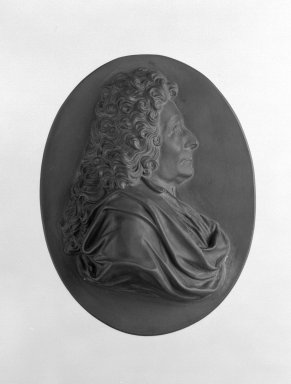 Wedgwood & Bentley (1768-1780). <em>Portrait Medallion</em>, ca.1790. Basaltes, 4 1/16 x 3 1/4 in. (10.3 x 8.3 cm). Brooklyn Museum, Gift of Emily Winthrop Miles, 55.9.8. Creative Commons-BY (Photo: Brooklyn Museum, 55.9.8_bw.jpg)