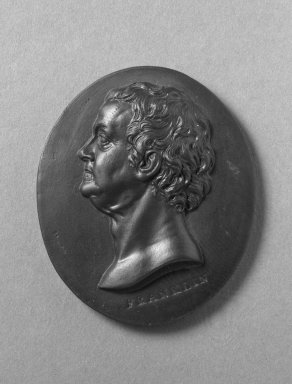 Wedgwood & Bentley (1768-1780). <em>Medallion, Ben Franklin</em>, ca.1775. Basaltes, 2 in. x 1 7/8 in. Brooklyn Museum, Gift of Emily Winthrop Miles, 55.9.9. Creative Commons-BY (Photo: Brooklyn Museum, 55.9.9_bw.jpg)