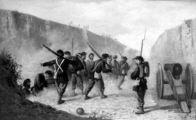 Unknown. <em>Civil War Scene</em>, ca. 1861-1866. Oil on canvas, 17 11/16 x 29 1/16 in. (45 x 73.8 cm). Brooklyn Museum, Dick S. Ramsay Fund, 55.90 (Photo: Brooklyn Museum, 55.90_acetate_bw.jpg)