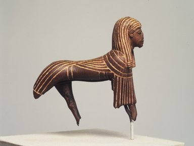 <em>King as Winged Sphinx</em>, ca. 1352-1336 B.C.E. Wood, pigment, 3 1/2 x 3 11/16 in. (8.9 x 9.4 cm). Brooklyn Museum, Charles Edwin Wilbour Fund, 56.100. Creative Commons-BY (Photo: Brooklyn Museum, 56.100_transp6218.jpg)