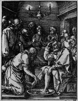 Albrecht Dürer (German, 1471-1528). <em>Christ Washing the Feet of the Disciples</em>, 1509-1511; edition of 1511. Woodcut on laid paper, Image: 4 15/16 x 3 7/8 in. (12.5 x 9.8 cm). Brooklyn Museum, Gift of Mrs. Howard M. Morse, 56.105.10 (Photo: Brooklyn Museum, 56.105.10_bw.jpg)