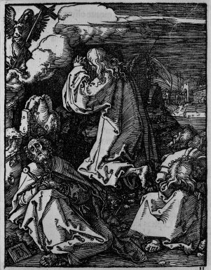 Albrecht Dürer (German, 1471-1528). <em>Christ on the Mount of Olives</em>, 1509-1511; edition of 1511. Woodcut on laid paper, Sheet: 5 3/16 x 4 in. (13.2 x 10.2 cm). Brooklyn Museum, Gift of Mrs. Howard M. Morse, 56.105.11 (Photo: Brooklyn Museum, 56.105.11_bw.jpg)