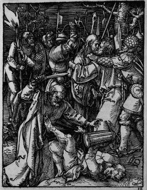 Albrecht Dürer (German, 1471-1528). <em>Betrayal of Christ</em>, 1509-1511; edition of 1511. Woodcut on laid paper, Sheet: 5 3/16 x 4 in. (13.2 x 10.2 cm). Brooklyn Museum, Gift of Mrs. Howard M. Morse, 56.105.12 (Photo: Brooklyn Museum, 56.105.12_bw.jpg)