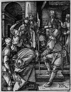 Albrecht Dürer (German, 1471-1528). <em>Christ Before Annas</em>, 1509-1511; edition of 1511. Woodcut on laid paper, Sheet: 5 3/16 x 4 1/16 in. (13.2 x 10.3 cm). Brooklyn Museum, Gift of Mrs. Howard M. Morse, 56.105.13 (Photo: Brooklyn Museum, 56.105.13_bw.jpg)