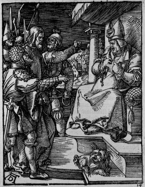Albrecht Dürer (German, 1471-1528). <em>Christ Before Caiaphas</em>, 1509-1511; edition of 1511. Woodcut on laid paper, Sheet: 5 3/16 x 4 in. (13.2 x 10.2 cm). Brooklyn Museum, Gift of Mrs. Howard M. Morse, 56.105.14 (Photo: Brooklyn Museum, 56.105.14_bw.jpg)