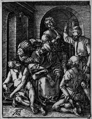 Albrecht Dürer (German, 1471-1528). <em>Mocking of Christ</em>, 1509-1511; edition of 1511. Woodcut on laid paper, Sheet: 5 3/16 x 4 in. (13.2 x 10.2 cm). Brooklyn Museum, Gift of Mrs. Howard M. Morse, 56.105.15 (Photo: Brooklyn Museum, 56.105.15_bw.jpg)