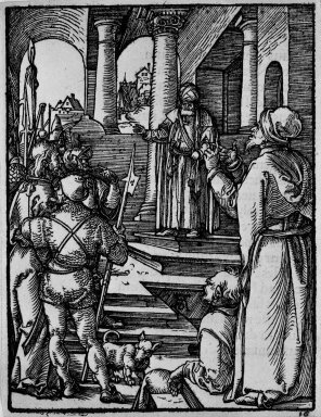 Albrecht Dürer (German, 1471-1528). <em>Christ before Pilate</em>, 1509-1511; edition of 1511. Woodcut on laid paper, Sheet: 5 1/4 x 4 in. (13.3 x 10.2 cm). Brooklyn Museum, Gift of Mrs. Howard M. Morse, 56.105.16 (Photo: Brooklyn Museum, 56.105.16_bw.jpg)