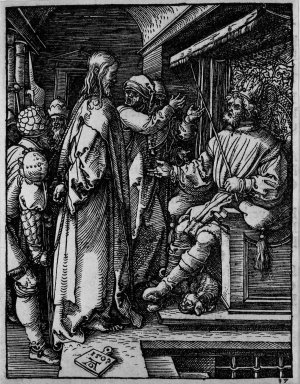 Albrecht Dürer (German, 1471-1528). <em>Christ before Herod</em>, 1509; edition of 1511. Woodcut on laid paper, Sheet: 5 1/4 x 4 1/16 in. (13.3 x 10.3 cm). Brooklyn Museum, Gift of Mrs. Howard M. Morse, 56.105.17 (Photo: Brooklyn Museum, 56.105.17_bw.jpg)