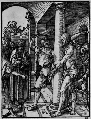 Albrecht Dürer (German, 1471-1528). <em>Flagellation</em>, 1509-1511; edition of 1511. Woodcut on laid paper, Sheet: 5 1/4 x 4 1/16 in. (13.4 x 10.3 cm). Brooklyn Museum, Gift of Mrs. Howard M. Morse, 56.105.18 (Photo: Brooklyn Museum, 56.105.18_bw.jpg)