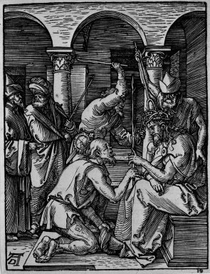 Albrecht Dürer (German, 1471-1528). <em>Christ Crowned with Thorns</em>, 1509-1511; edition of 1511. Woodcut on laid paper, Sheet: 5 3/16 x 4 in. (13.2 x 10.2 cm). Brooklyn Museum, Gift of Mrs. Howard M. Morse, 56.105.19 (Photo: Brooklyn Museum, 56.105.19_bw.jpg)