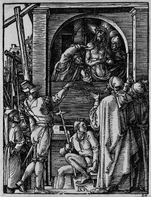 Albrecht Dürer (German, 1471-1528). <em>Ecce Homo</em>, 1509-1511; edition of 1511. Woodcut on laid paper, Sheet: 5 3/16 x 4 in. (13.2 x 10.2 cm). Brooklyn Museum, Gift of Mrs. Howard M. Morse, 56.105.20 (Photo: Brooklyn Museum, 56.105.20_bw.jpg)