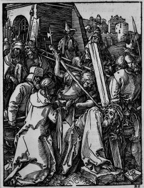 Albrecht Dürer (German, 1471-1528). <em>Christ Carrying the Cross</em>, 1509; edition of 1511. Woodcut on laid paper, Sheet: 5 3/16 x 4 in. (13.2 x 10.2 cm). Brooklyn Museum, Gift of Mrs. Howard M. Morse, 56.105.22 (Photo: Brooklyn Museum, 56.105.22_bw.jpg)