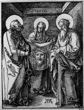 Albrecht Dürer (German, 1471-1528). <em>Saint Veronica Between Saints Peter and Paul</em>, 1510; edition of 1511. Woodcut on laid paper, Sheet: 5 1/8 x 5 1/16 in. (13 x 12.9 cm). Brooklyn Museum, Gift of Mrs. Howard M. Morse, 56.105.23 (Photo: Brooklyn Museum, 56.105.23_bw.jpg)