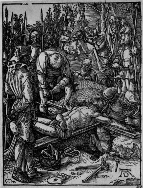 Albrecht Dürer (German, 1471-1528). <em>Christ Nailed to the Cross</em>, 1509-1511; edition of 1511. Woodcut on laid paper, Sheet: 5 3/16 x 4 in. (13.2 x 10.2 cm). Brooklyn Museum, Gift of Mrs. Howard M. Morse, 56.105.24 (Photo: Brooklyn Museum, 56.105.24_bw.jpg)