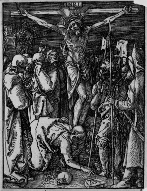 Albrecht Dürer (German, 1471-1528). <em>Crucifixion</em>, 1509-1511; edition of 1511. Woodcut on laid paper, Sheet: 5 1/4 x 4 in. (13.4 x 10.2 cm). Brooklyn Museum, Gift of Mrs. Howard M. Morse, 56.105.25 (Photo: Brooklyn Museum, 56.105.25_bw.jpg)