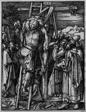 Albrecht Dürer (German, 1471-1528). <em>Descent from the Cross</em>, 1509-1511; edition of 1511. Woodcut on laid paper, Sheet: 5 3/16 x 4 1/16 in. (13.2 x 10.3 cm). Brooklyn Museum, Gift of Mrs. Howard M. Morse, 56.105.27 (Photo: Brooklyn Museum, 56.105.27_bw.jpg)