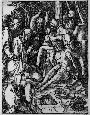 Albrecht Dürer (German, 1471-1528). <em>Lamentation</em>, 1509-1511; edition of 1511. Woodcut on laid paper, Sheet: 5 1/8 x 4 in. (13 x 10.2 cm). Brooklyn Museum, Gift of Mrs. Howard M. Morse, 56.105.28 (Photo: Brooklyn Museum, 56.105.28_bw.jpg)