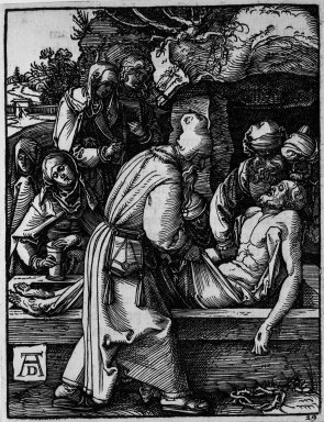 Albrecht Dürer (German, 1471-1528). <em>Deposition</em>, 1509-1511; edition of 1511. Woodcut on laid paper, Sheet: 5 3/16 x 4 in. (13.2 x 10.2 cm). Brooklyn Museum, Gift of Mrs. Howard M. Morse, 56.105.29 (Photo: Brooklyn Museum, 56.105.29_bw.jpg)