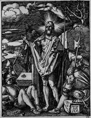 Albrecht Dürer (German, 1471-1528). <em>Resurrection</em>, 1509-1511; edition of 1511. Woodcut on laid paper, Image: 4 1/16 x 3 13/16 in. (10.3 x 9.7 cm). Brooklyn Museum, Gift of Mrs. Howard M. Morse, 56.105.30 (Photo: Brooklyn Museum, 56.105.30_bw.jpg)