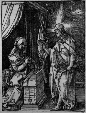 Albrecht Dürer (German, 1471-1528). <em>Christ Appearing to his Mother</em>, 1509-1511; edition of 1511. Woodcut on laid paper, Image: 4 7/8 x 3 3/4 in. (12.4 x 9.5 cm). Brooklyn Museum, Gift of Mrs. Howard M. Morse, 56.105.31 (Photo: Brooklyn Museum, 56.105.31_bw.jpg)