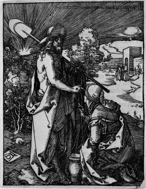 Albrecht Dürer (German, 1471-1528). <em>Noli Me Tangere</em>, 1509-1511; edition of 1511. Woodcut on laid paper, Image: 4 15/16 x 3 7/8 in. (12.5 x 9.9 cm). Brooklyn Museum, Gift of Mrs. Howard M. Morse, 56.105.32 (Photo: Brooklyn Museum, 56.105.32_bw.jpg)