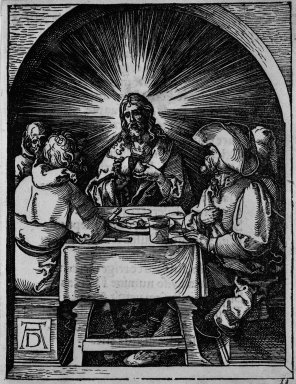 Albrecht Dürer (German, 1471-1528). <em>Christ in Emmaus</em>, 1509-1511. Woodcut on laid paper, Sheet: 5 3/16 x 5 1/16 in. (13.2 x 12.8 cm). Brooklyn Museum, Gift of Mrs. Howard M. Morse, 56.105.33 (Photo: Brooklyn Museum, 56.105.33_bw.jpg)