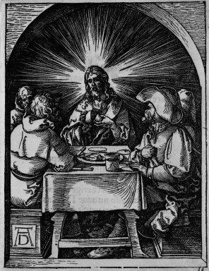 Albrecht Dürer (German, 1471-1528). <em>Christ in Emmaus</em>, 1509-1511. Woodcut on laid paper, Sheet: 5 3/16 x 5 1/16 in. (13.2 x 12.8 cm). Brooklyn Museum, Gift of Mrs. Howard M. Morse, 56.105.33 (Photo: Brooklyn Museum, 56.105.33_bw.jpg)