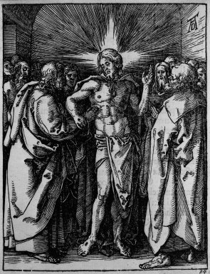 Albrecht Dürer (German, 1471-1528). <em>Doubting Thomas</em>, 1509-1511; edition of 1511. Woodcut on laid paper, Image: 5 x 3 3/4 in. (12.7 x 9.5 cm). Brooklyn Museum, Gift of Mrs. Howard M. Morse, 56.105.34 (Photo: Brooklyn Museum, 56.105.34_bw.jpg)