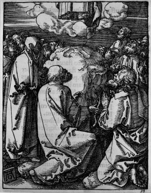 Albrecht Dürer (German, 1471-1528). <em>Ascension</em>, 1509-1511; edition of 1511. Woodcut on laid paper, Sheet: 5 1/8 x 4 in. (13 x 10.2 cm). Brooklyn Museum, Gift of Mrs. Howard M. Morse, 56.105.35 (Photo: Brooklyn Museum, 56.105.35_bw.jpg)