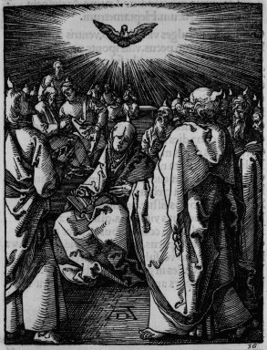 Albrecht Dürer (German, 1471-1528). <em>The Small Passion: Pentecost</em>, 1509-1511; edition of 1511. Woodcut on laid paper, Image: 4 15/16 x 3 7/8 in. (12.5 x 9.8 cm). Brooklyn Museum, Gift of Mrs. Howard M. Morse, 56.105.36 (Photo: Brooklyn Museum, 56.105.36_bw.jpg)