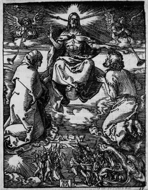 Albrecht Dürer (German, 1471-1528). <em>Last Judgement</em>, 1509-1511. Woodcut on laid paper, Sheet: 5 3/16 x 4 in. (13.2 x 10.2 cm). Brooklyn Museum, Gift of Mrs. Howard M. Morse, 56.105.37 (Photo: Brooklyn Museum, 56.105.37_bw.jpg)
