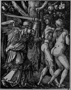 Albrecht Dürer (German, 1471-1528). <em>Expulsion from Paradise</em>, 1510; edition of 1511. Woodcut on laid paper, Sheet: 5 1/8 x 4 1/16 in. (13 x 10.3 cm). Brooklyn Museum, Gift of Mrs. Howard M. Morse, 56.105.3 (Photo: Brooklyn Museum, 56.105.3_bw.jpg)