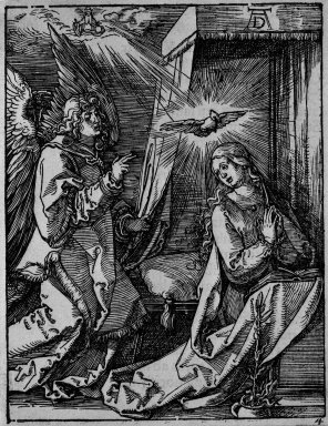 Albrecht Dürer (German, 1471-1528). <em>Annunciation</em>, 1509-1511; edition of 1511. Woodcut on laid paper, Sheet: 5 3/16 x 5 in. (13.2 x 12.7 cm). Brooklyn Museum, Gift of Mrs. Howard M. Morse, 56.105.4 (Photo: Brooklyn Museum, 56.105.4_bw.jpg)