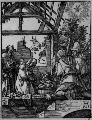 Albrecht Dürer (German, 1471-1528). <em>Nativity</em>, 1509-1511; edition of 1511. Woodcut on laid paper, Sheet: 5 1/4 x 4 1/16 in. (13.3 x 10.3 cm). Brooklyn Museum, Gift of Mrs. Howard M. Morse, 56.105.5 (Photo: Brooklyn Museum, 56.105.5_bw.jpg)