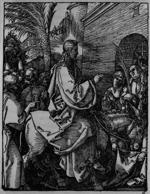 Albrecht Dürer (German, 1471-1528). <em>Christ's Entry into Jerusalem</em>, 1509-1511; edition of 1511. Woodcut on laid paper, Sheet: 5 3/16 x 4 1/16 in. (13.2 x 10.3 cm). Brooklyn Museum, Gift of Mrs. Howard M. Morse, 56.105.6 (Photo: Brooklyn Museum, 56.105.6_bw.jpg)