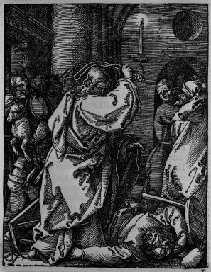 Albrecht Dürer (German, 1471-1528). <em>Christ Driving the Money Lenders From the Temple</em>, 1509-1511; edition of 1511. Woodcut on laid paper, Sheet: 5 1/8 x 4 in. (13 x 10.2 cm). Brooklyn Museum, Gift of Mrs. Howard M. Morse, 56.105.7 (Photo: Brooklyn Museum, 56.105.7_bw.jpg)