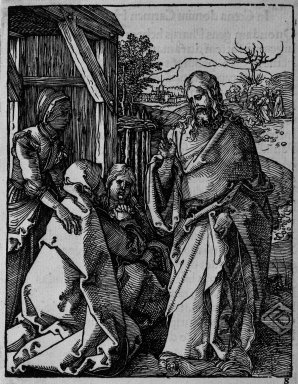 Albrecht Dürer (German, 1471-1528). <em>Christ Taking Leave From His Mother</em>, 1509-1511; edition of 1511. Woodcut on laid paper, Sheet: 5 3/16 x 4 1/16 in. (13.2 x 10.3 cm). Brooklyn Museum, Gift of Mrs. Howard M. Morse, 56.105.8 (Photo: Brooklyn Museum, 56.105.8_bw.jpg)