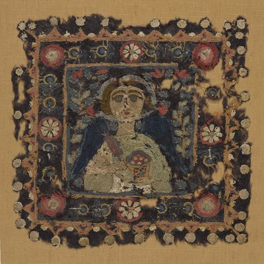 Coptic. <em>Female Personification</em>, 5th century C.E. Flax, wool, 11 1/2 x 11 1/2 in. (29.2 x 29.2 cm). Brooklyn Museum, Charles Edwin Wilbour Fund, 56.125. Creative Commons-BY (Photo: Brooklyn Museum, 56.125_PS9.jpg)