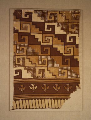 Chimú. <em>Fragment of Textile</em>, 1000-1470. Cotton, pigment, 35 x 23.5 in.  (88.9 x 59.7 cm). Brooklyn Museum, Frank L. Babbott Fund, 56.128. Creative Commons-BY (Photo: Brooklyn Museum, 56.128.jpg)