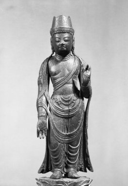 <em>Sculpture of a Bodhisattva</em>, 794-896. Wood, 15 9/16 x 3 15/16 x 2 3/4 in. (39.5 x 10 x 7 cm). Brooklyn Museum, Frank L. Babbott Fund, 56.153. Creative Commons-BY (Photo: Brooklyn Museum, 56.153_acetate_bw.jpg)