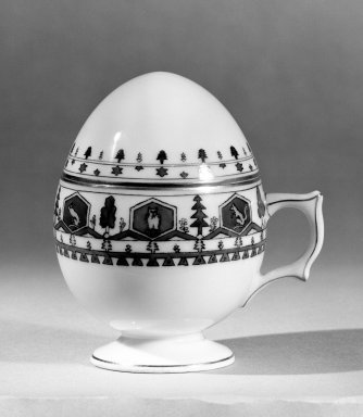 <em>Egg Cup with Cover</em>, 19th century. Porcelain, Height: 4 in. (10.2 cm). Brooklyn Museum, Anonymous gift, 56.175.35a-b. Creative Commons-BY (Photo: Brooklyn Museum, 56.175.35a-b_bw.jpg)