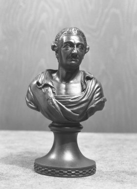 <em>Portrait Bust of Garrick</em>. Wedgwood and other black basalt Brooklyn Museum, Gift of Emily Winthrop Miles, 56.192.27. Creative Commons-BY (Photo: Brooklyn Museum, 56.192.27_acetate_bw.jpg)