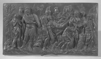 <em>Plaque for Chimney</em>. Wedgwood and other black basalt Brooklyn Museum, Gift of Emily Winthrop Miles, 56.192.29. Creative Commons-BY (Photo: Brooklyn Museum, 56.192.29_acetate_bw.jpg)