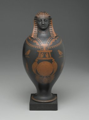 Wedgwood & Bentley (1768-1780). <em>Canopic Jar</em>, ca. 1773. Earthenware, encaustic, 13 5/8 x 5 1/2 in. (34.6 x 14.0 cm). Brooklyn Museum, Gift of Emily Winthrop Miles, 56.192.33. Creative Commons-BY (Photo: Brooklyn Museum, 56.192.33_PS2.jpg)