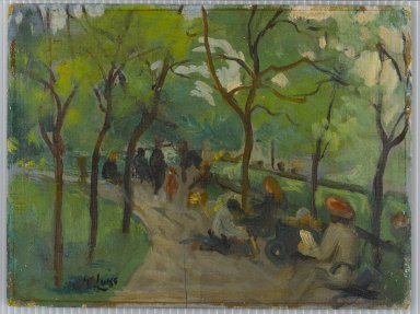 George Benjamin Luks (American, 1867-1933). <em>Prospect Park</em>, ca. 1902-1910. Oil on panel, 8 7/16 x 11 1/4 in. (21.5 x 28.5 cm). Brooklyn Museum, Gift of the Borough of Brooklyn, 56.22 (Photo: Brooklyn Museum, 56.22_PS1.jpg)