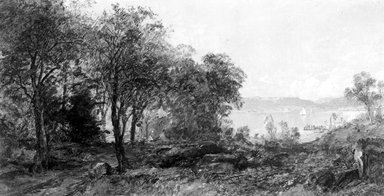 Jasper Francis Cropsey (American, 1823-1900). <em>View of the Hudson</em>, 1886. Oil on canvas, 8 5/8 x 16 in. (21.9 x 40.6 cm). Brooklyn Museum, Gift of Francis M. Ready in memory of his uncle, Martin C. Ready, 56.34 (Photo: Brooklyn Museum, 56.34_acetate_bw.jpg)