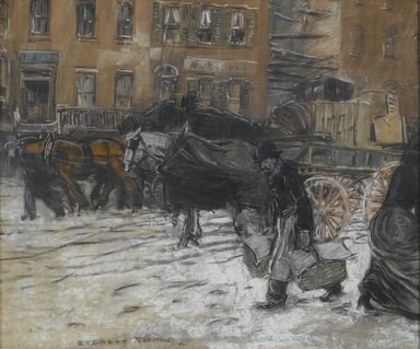 Everett Shinn (American, 1876-1953). <em>Winter on 21st Street, New York</em>, 1899. Pastel on gray paper mounted overall to pulpboard, 20 3/8 x 24 3/8 in. (51.8 x 61.9 cm). Brooklyn Museum, Gift of Solton Engel, 56.3 (Photo: Brooklyn Museum, 56.3_PS2.jpg)